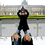 Human pyramid at the Louvre in Paris