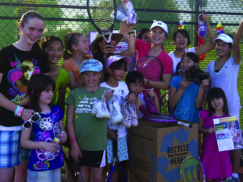 Tennis students donate to GIVE SHOES!